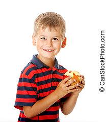 holdingen, äpple, pojke