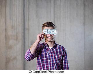 holdingen, ögon, man, sedel, över, affär, dollars, amerikan