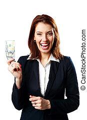 holdingen, affärskvinna, dollars, isolerat, oss, skratta, bakgrund, vit