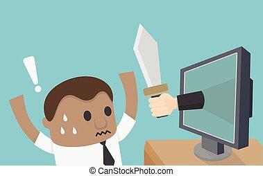 holdingen, affärsman, hand, elektroniskt, röveri, kniv, chockerat, övervaka, afrikansk