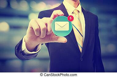 holdingen, affärsman, ikon, email