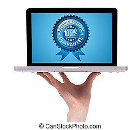 holdingen, etikett, manlig, garanti, hand, laptop, tillfredsställelse