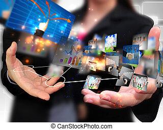 holdingen, folk affär, social, media