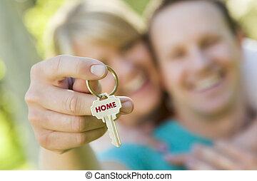 holdingen, hus, par, nyckel, text, hem