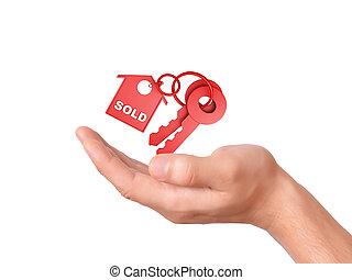 holdingen, hus, såld, keys., begrepp