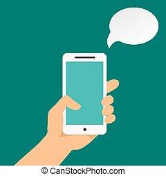 holdingen, infographics, hand, smartphone
