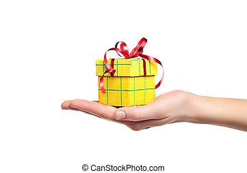 holdingen, isolerat, gåvan boxas, hand