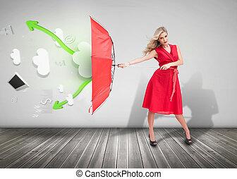 holdingen, kvinna, klänning, röd, tröttsam