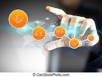 holdingen, media, nätverk, social, hand, begrepp