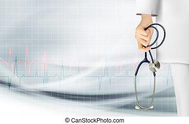 holdingen, medicinsk, bakgrund, hand, vector., stethoscope.