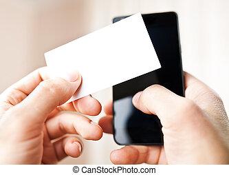 holdingen, numrerar, telefonering, affär, mobil, kort, ringa, man, tom