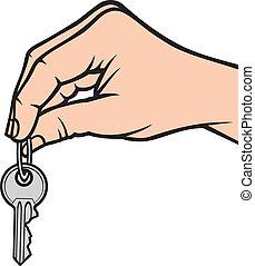 holdingen, nyckel, hand