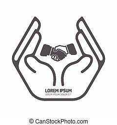 holdingen, säkerhet, hand, business., logo, begrepp, vektor, omsorg, illustration., bakgrund, design, vit