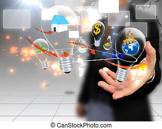 holdingen, social, affärsman, media