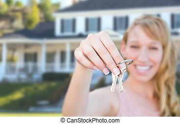 holdingen, stämm, hus, kvinnlig, främre del, färsk, home., spänd, trevlig