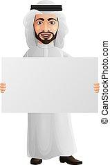 holdingen, tom, affärsman, underteckna, arab