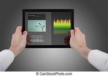 holdingen, touchpad, musik, pc, räcker, användande, program