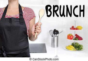 holdingen, träsked, bakgrund, kock, brunch