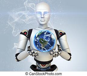 holdings, aarde, cyborg, zijn, handen