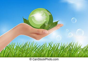 holdingshand, menselijk, groen globe