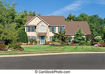 holdning, enlig familie hus, ind, forstads, philadelphia, pa., georgian/colonial, style.