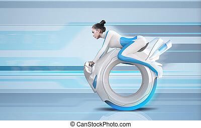 holdning, fremtid, rider bike, -, fremtid, samling