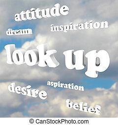 holdning, oppe, himmel, -, positiv, lede, gloser