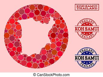 Hole Circle Map of Koh Samui Mosaic and Scratched Stamp