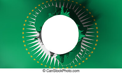 Hole cut in the flag of African Union