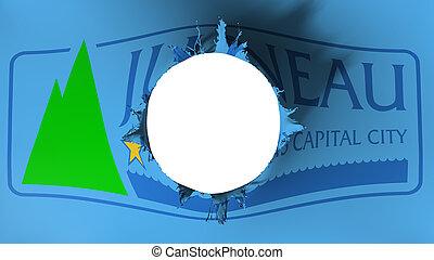 Hole cut in the flag of Juneau city capital - Hole cut in ...