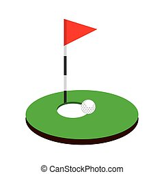 hole golf sport with flag icon