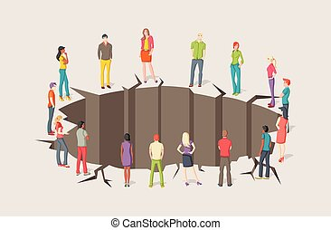 hole., groupe, autour de, gens