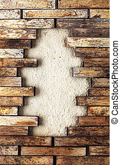 Hole in a wooden wall