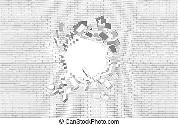 Hole in brick wall - Hole in white brick wall. Vector...