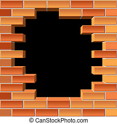 hole in brick wall - vector background of the brick wall ...