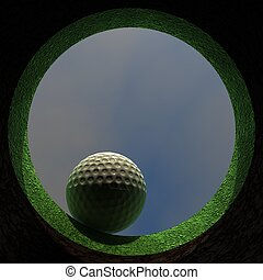 A golf ball falling into a hole. Camera view looking up from inside the hole.