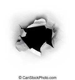 Hole in paper - Ripped round hole in white paper with black...