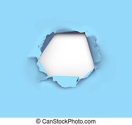 Hole in paper - high resolution hole in blue paper