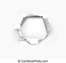 Hole in paper - high resolution hole in white paper