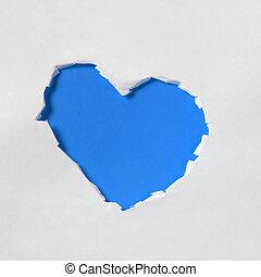 hole in shape of a heart