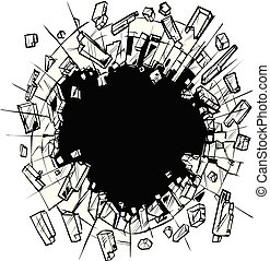 Hole in Shattering Glass Vector Clip Art