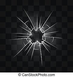 Hole in the glass from the bullet. Vector illustration
