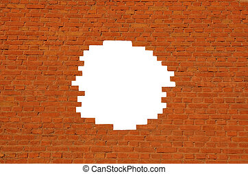 Hole in the orange brick wall