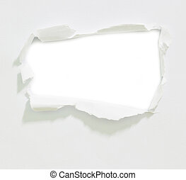 Hole in the paper on white