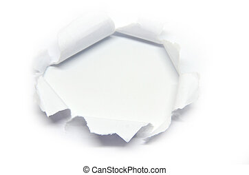 Hole in the paper with torn side