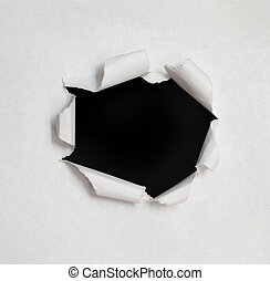 Hole in the paper with torn sides.