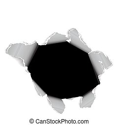 Hole in the sheet of paper - black and white