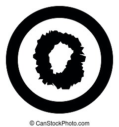 Hole in the surface icon black color in circle round vector...