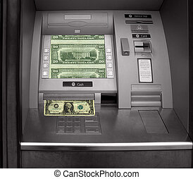 Hole in the wall, cash machine with dollars