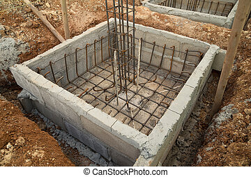 hole of pole in construction site building prepare for...